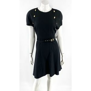 Sharagano Dress Size 12 Black Belted Fit Flare NEW